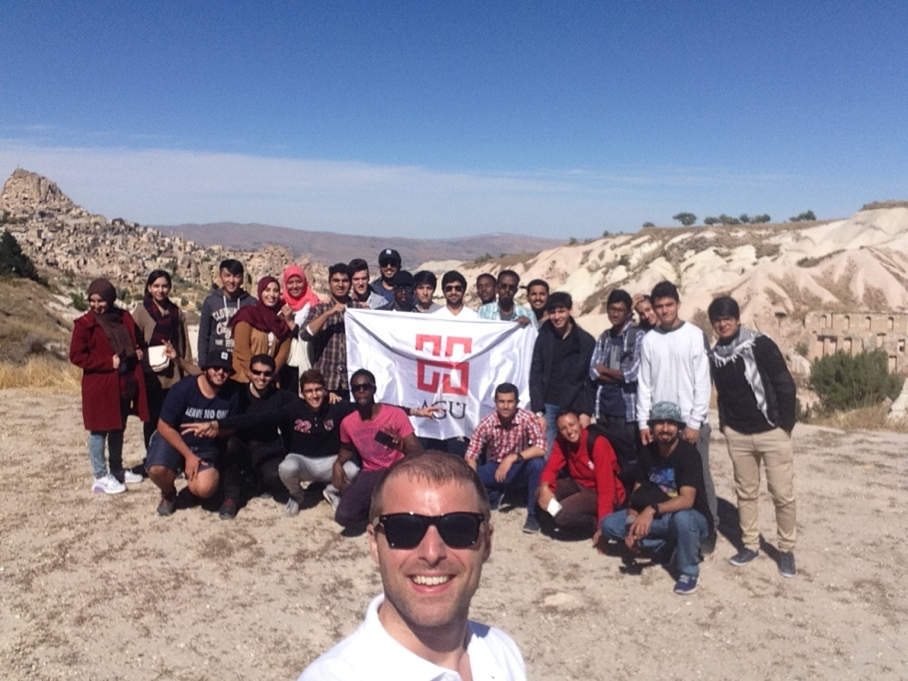 Abdullah Gül University, AGU, International Students, Welcome, Week, Orientation, Cappadocia, day trip, pigeon valley, uçhisar, group photo