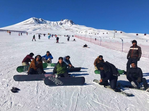 International, Student, group, snowboarders, AGU, Erciyes
