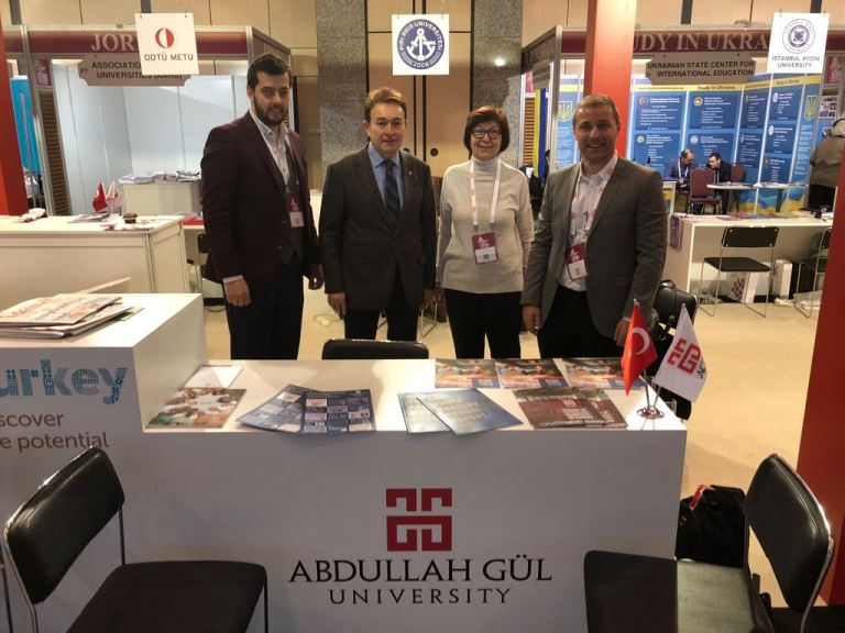 Abdullah Gül University, AGU, members, AGU booth, Rector Prof. Dr. İhsan Sabuncuoğlu, Assis. Prof. Dr. Füsun Akdağ, International Office, Head, Emeric Abrignani, Student Advisor, Yakup Sönmez